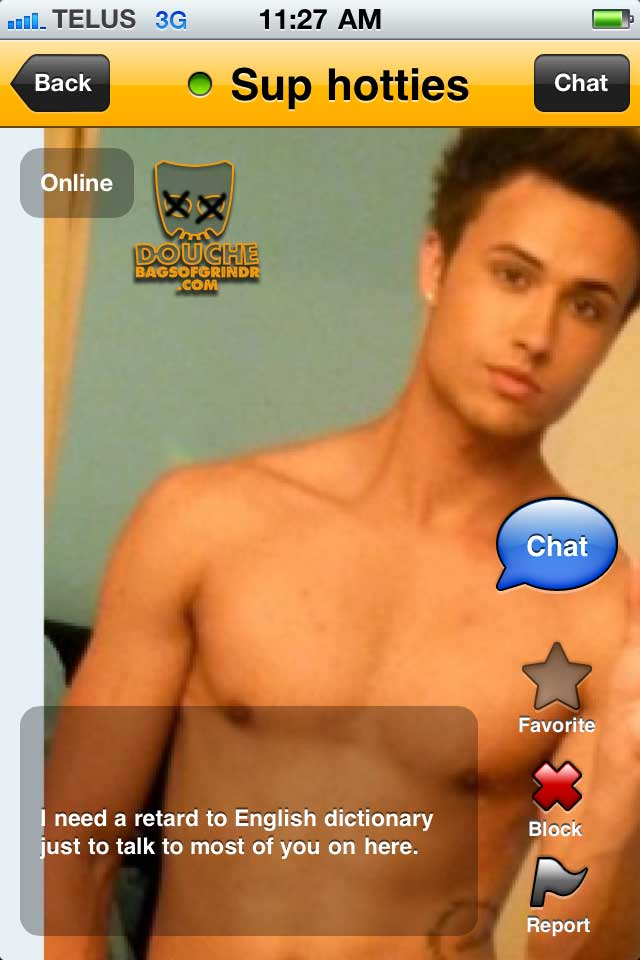 retarded grindr douche
