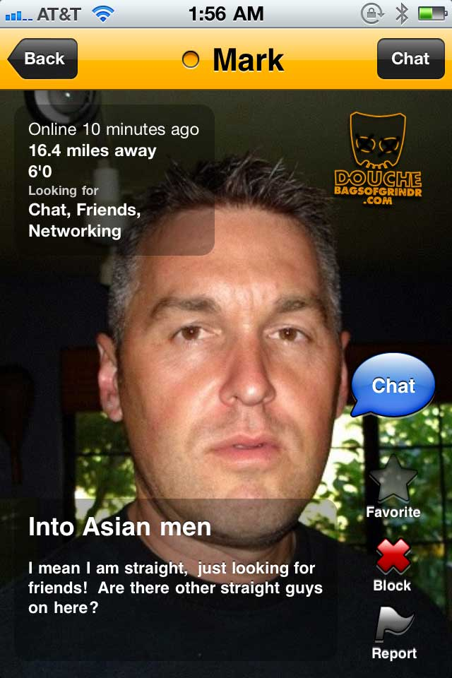 OK so he's straight but he's into Asian men on Grindr? What is he implying?