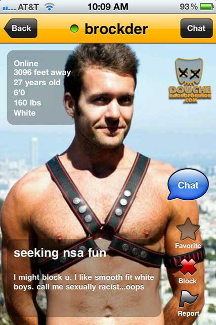sexually racist grindr douche