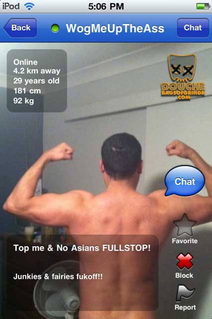 racist grindr douche just wants a good wogging