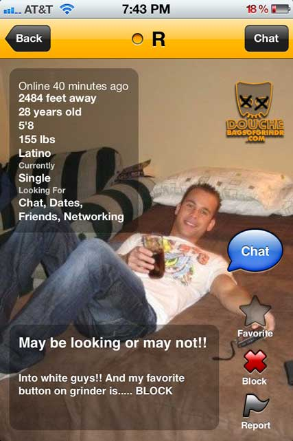 Racist grindr douche in repose also loves blocking. Such varied interests!