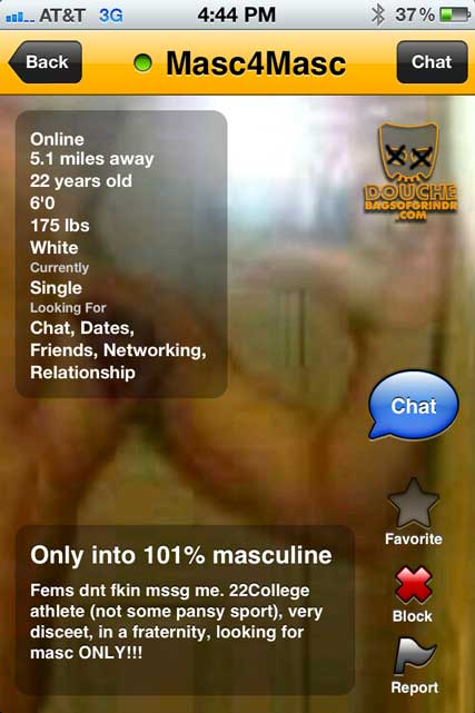 No PANSIES for this grindr douche!