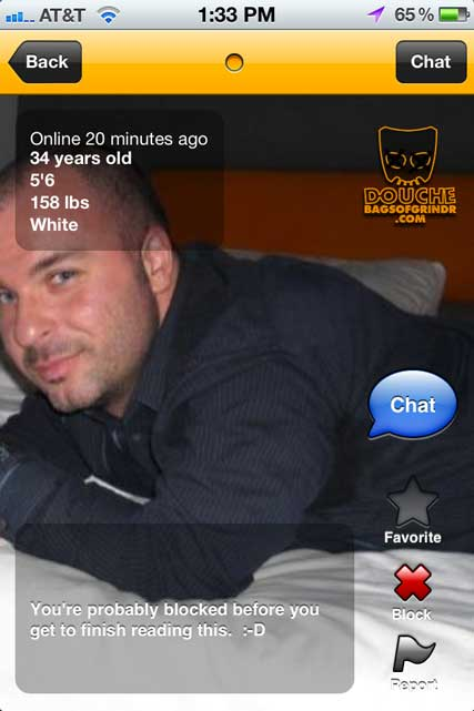 This grindr douche is oh so exclusive! Well he let you in?