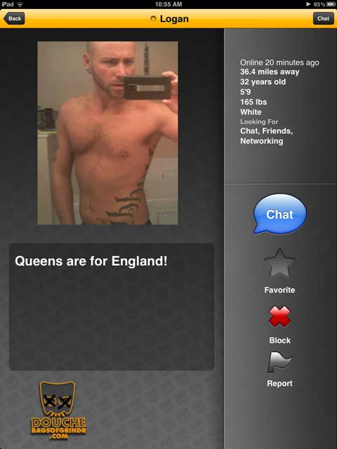 well we know that this grindr douche is probably not an englishman
