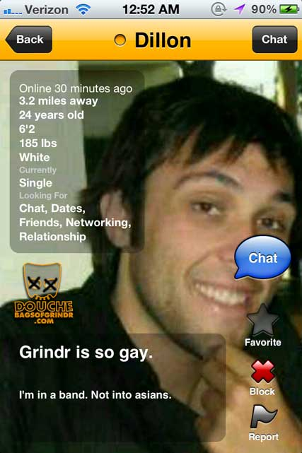 He's in a BAND. How can he be a Grindr Douche?