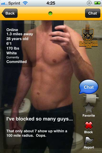 Grindr douche who is proud of his extreme blocking.