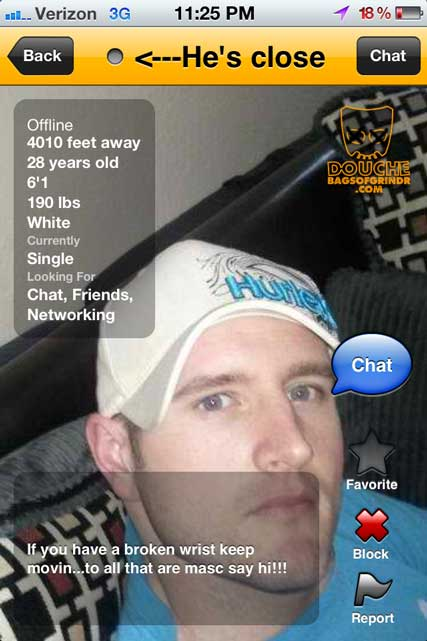 butch hat grindr douche
